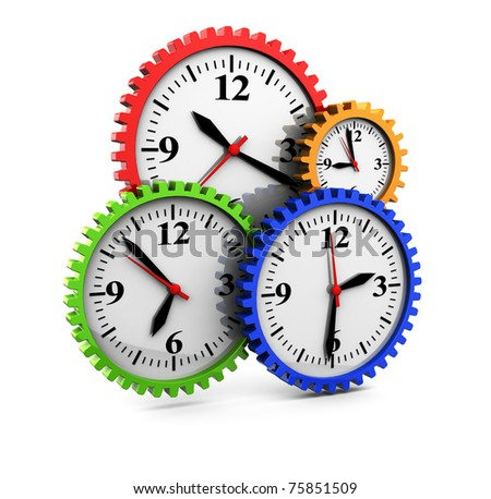 3d illustration of clocks gear wheels, over white background
