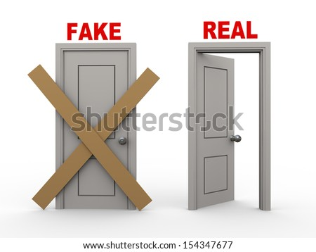 3d illustration of closed door of concept of fake and open door having word real.