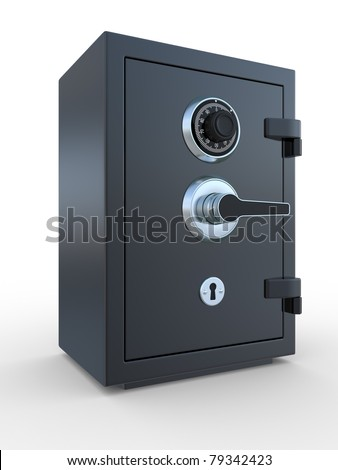 3d illustration of closed steel bank safe over white background - stock photo