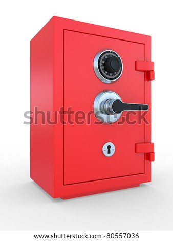 3d illustration of closed steel bank safe over white background
