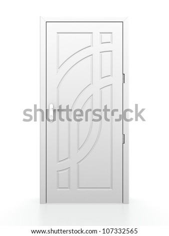 3D illustration of closed white door on white background