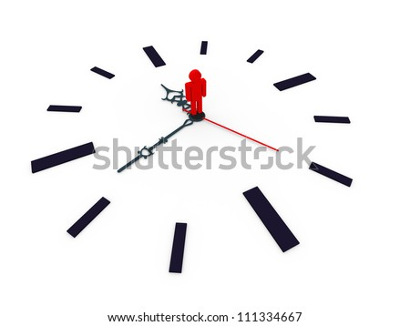3d illustration of closeup of clock with man standing in the centre