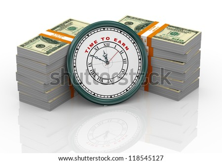 3d illustration of closeup of clock with words time to earn and dollar packs