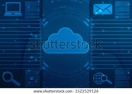 2d illustration of Cloud computing, Cloud Computing Concept, Cloud computing technology internet concept background