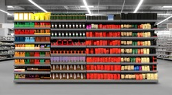 3D illustration of Coffee packagings on shelf in supermarket. Suitable for presenting new products and new designs, labels and to better present new coffee brands among many other.