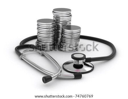3D Illustration of Coins and a Stethoscope