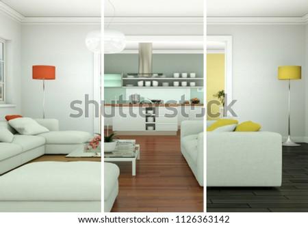 3d Illustration of color variations of a modern loft interior design #1126363142