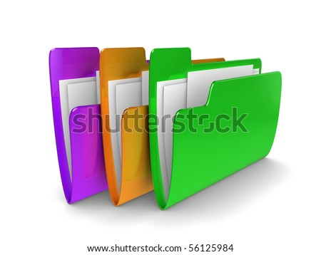 3d illustration of colored files containing documents