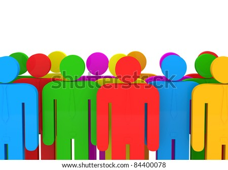 3d Illustration of Colorful People on white background - stock photo