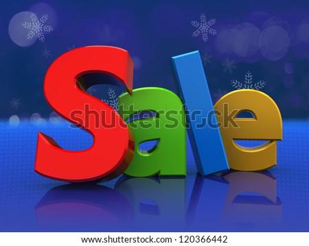 3d illustration of colorful sign sale, over blue background