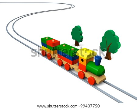 3D illustration of colorful wooden toy train on rails - stock photo