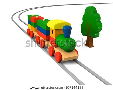 3D illustration of colorful wooden toy train on rails with a tree