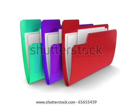 3d illustration of coloured files containing documents