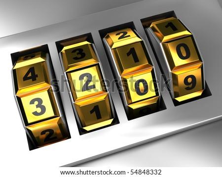 3d illustration of combination lock dialing, closeup