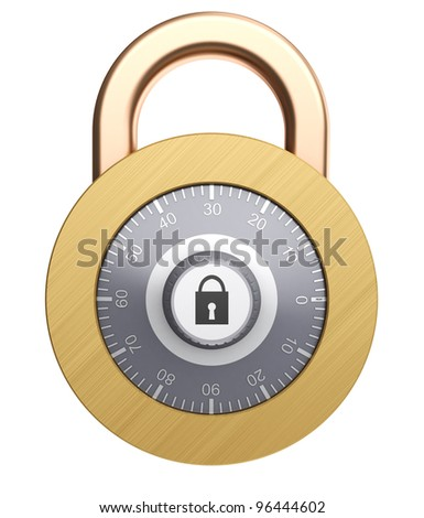 3d illustration of combination lock isolated over white background