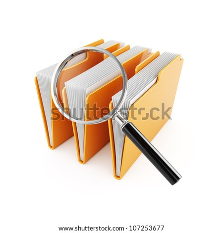 3d illustration of computer folders with magnifier glass