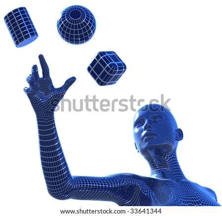 3D illustration of computer generated, wire framed woman, reaching with her hand for the three basic 3D shapes: spher, cube and cylinder