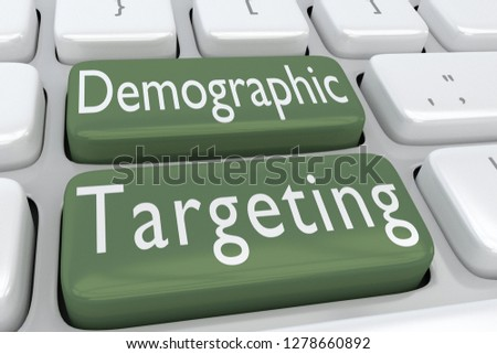 3D illustration of computer keyboard with the script Demographic Targeting on two adjacent buttons