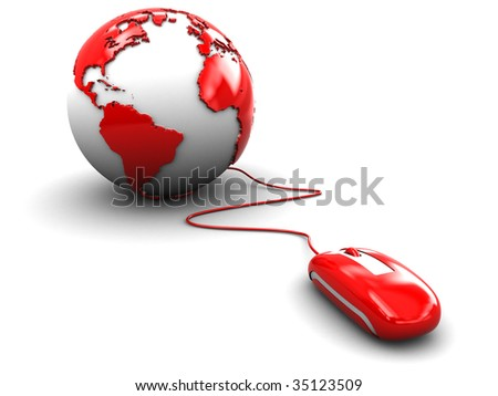 3d illustration of computer mouse and earth globe over white background