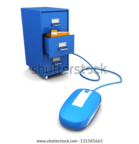 3d illustration of computer mouse connected to cabinet