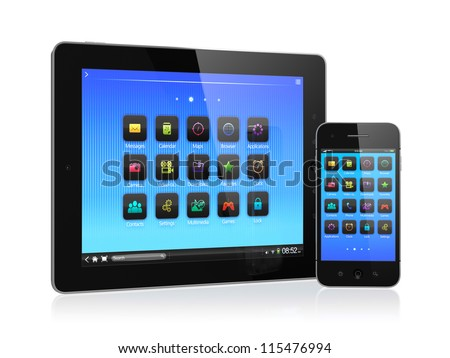 3d illustration of computer tablet and mobile phone isolated on white background