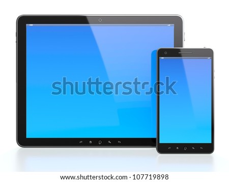 3d illustration of computer tablet and mobile phone with blue screen on white background