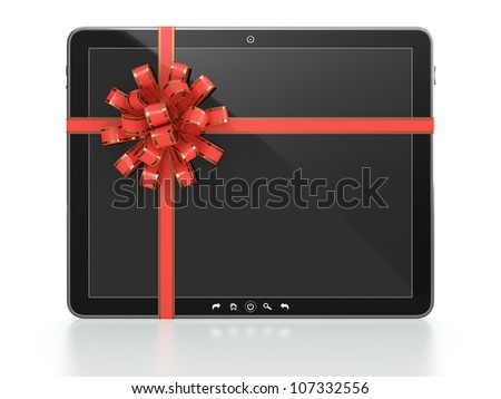3D illustration of computer tablet gift with blank screen and red ribbon on white background