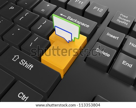 3d illustration of computer technologies. Button to send a message