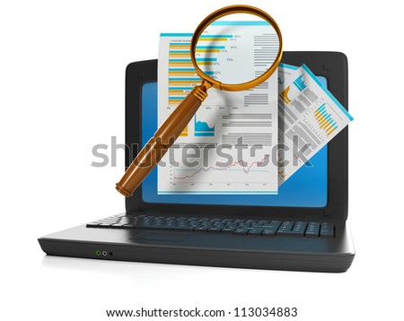 3d illustration of computer technologies. Search for the file on the Internet. Laptop on white background