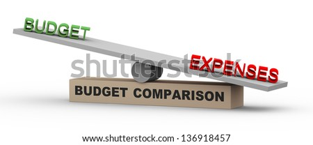 3d illustration of concept of comparison of budget and expenses. Word expenses is heavier against budget on balance scale