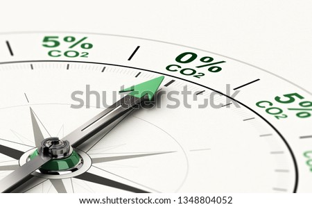 3D illustration of conceptual compass with needle pointing 0 percent of CO2. Concept of decarbonization