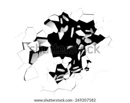 3d illustration of cracked hole in white background