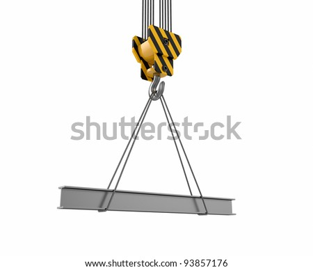3d illustration of crane hook with rail on white