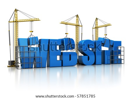 3d illustration of cranes building website sign, over white background