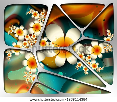 3D illustration of creative fractal artwork combined with silver metal plate embellishment Foto stock ©
