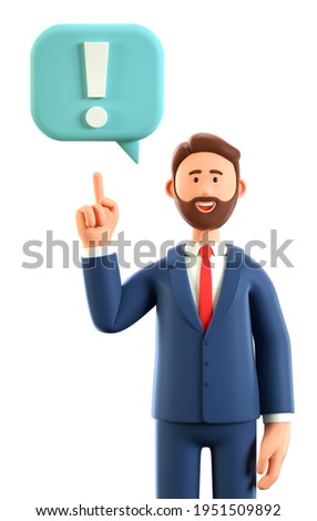 3D illustration of creative man pointing finger at exclamation mark in speech bubble. Cartoon smiling businessman solving problems, feeling satisfaction and joyful. Searching and finding a solution.