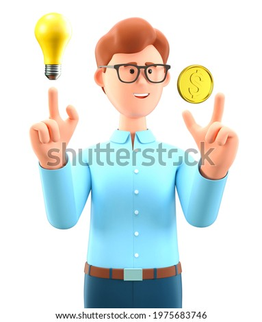3D illustration of creative man pointing finger at gold dollar coin and generating new ideas for making money. Cartoon businessman, investor with light bulb. Financial solution and growth concept.