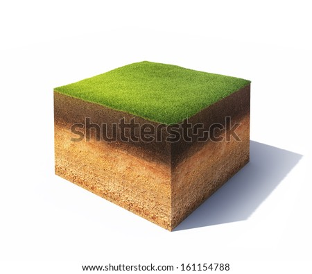 3d illustration of cross section of ground with grass isolated on white Stock photo ©