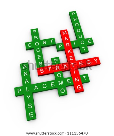 3d illustration of crossword of marketing strategy