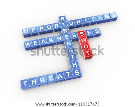 3d illustration of crossword of swot - strengths, weaknesses, opportunities, threats