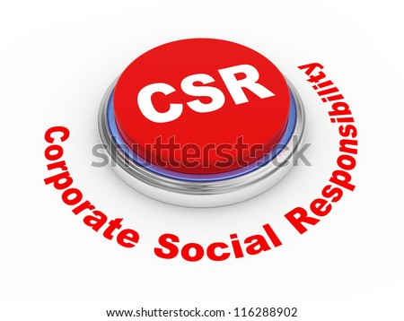 3d illustration of csr corporate social responsibility button stock