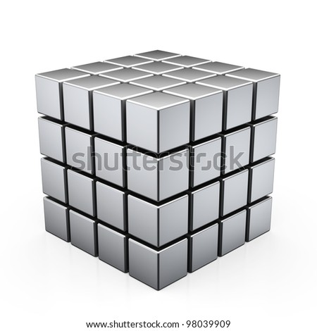 3d illustration of cube assembling from blocks