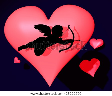 3d illustration of cupid with red hearts