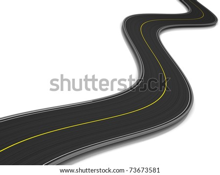 3d illustration of curved road over white background