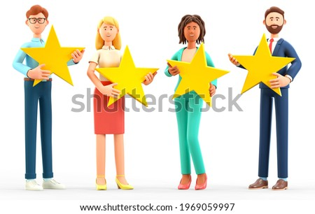 3D illustration of customer review rating concept. Multicultural people characters giving feedback with stars. Cute cartoon clients with high quality satisfaction service, positive rank and support.
