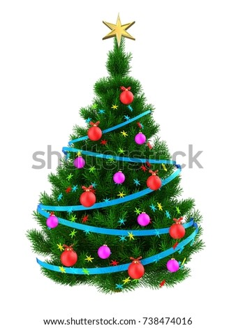3d illustration of dark green Christmas tree with colorful stars over white background - Shutterstock ID 738474016