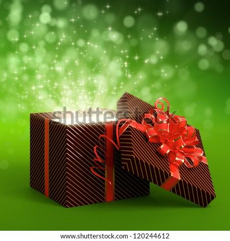 3D illustration of dark red gift box on green background