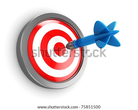 3d illustration of dart hit target
