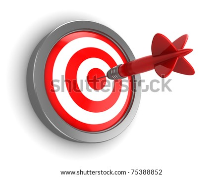 3d illustration of dart hitting target
