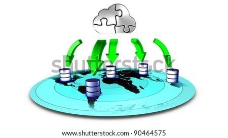 3d Illustration of database Cloud backup
